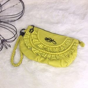 Betsey Johnson Ruffle Leather Wristlet Clutch Bag